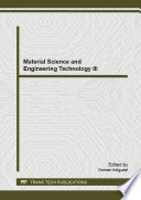 Material Science and Engineering Technology III Book