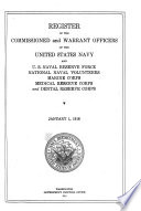Register of the Commission and Warrant Officers of the Navy of the United States  Including Officers of the Marine Corps Book