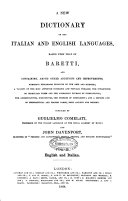 A New Dictionary of the Italian and English Languages Based Upon that of Baretti     Compiled by John Davenport and Guglielmo Comelati