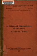 A Canadian Bibliography for the Year 1901