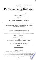 The Parliamentary Debates from the Year 1803 to the Present Time Book