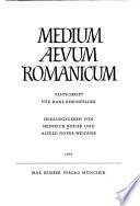 Medium Aevum Romanicum  : Festschrift für Hans Rheinfelder