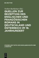 Pdf Quellen zur Rezeption des englischen und französischen Romans in Deutschland und Österreich im 19. Jahrhundert Telecharger