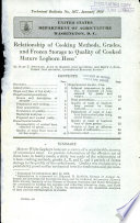Relationship of Cooking Methods  Grades  and Frozen Storage to Quality of Cooked Mature Leghorn Hens