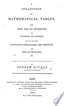 A Collection of Mathematical Tables  etc