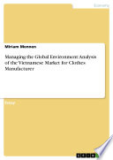 Managing the Global Environment: Analysis of the Vietnamese Market for Clothes Manufacturer
