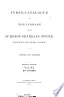 Index catalogue of the Library of the Surgeon General s Office  United States Army Book