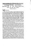 Cinquie'me lettre, escritte a vn prouincial par vn de ses amis. De Paris le 20. Mars 1656