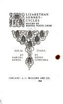 Elizabethan Sonnet-cycles: Daniel, S. Delia; Constable, H. Diana