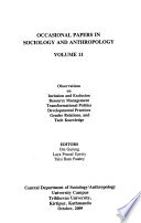 Occasional Papers in Sociology and Anthropology