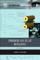 Primer on Flat Rolling Pdf/ePub eBook