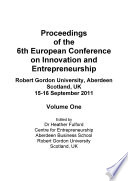 Ecei2011 6th European Conference On Innovation And Entrepreneurship