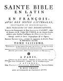 La Sainte Bible en latin et en français avec des notes de cabinet et de Vence