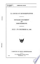 U S House Of Representatives Detailed Statement Of Disbursements
