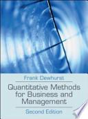 Quantitative Methods for Business and Management