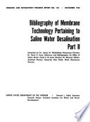 Bibliography of Membrane Technology Pertaining to Saline Water Desalination