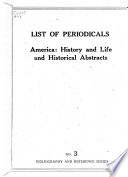 List of Periodicals: America, History and Life; And, Historical Abstracts