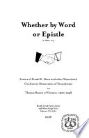 Whether by Word Or Epistle