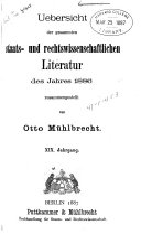 Uebersicht der gesammten staats und rechtswissenschaftlichen litteratur ...