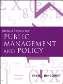 Meta Analysis for Public Management and Policy