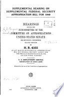 Supplemental Hearing On Supplemental Federal Security Appropriation Bill For 1949