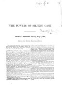 The Towers of Silence Case. [Report of Proceedings in the Trial of Māṇekjī Dārābjī and Others for Rioting.]