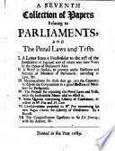 A seventh collection of papers relating to Parliaments and the penal laws and tests