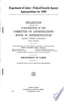 Department Of Labor Federal Security Agency Appropriations For 1954