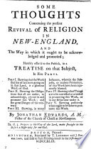 Some Thoughts Concerning The Present Revival Of Religion In New England Etc