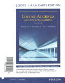 Linear Algebra and Its Applications, Books a la Carte Edition