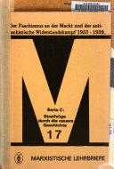 Der Faschismus an der Macht und der antifaschistische Widerstandskampf 1933-1939