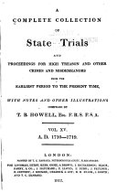 Cobbett's Complete Collection of State Trials and Proceedings for High Treason and Other Crimes and Misdemeanors from the Earliest Period [1163] to the Present Time [1820]. ebook