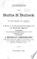 Address of Rufus B. Bullock to the People of Georgia