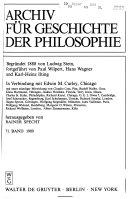 Archiv f  r Geschichte der Philosophie
