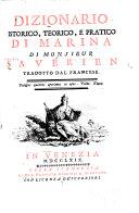 Dizionario istorico, teorico, e pratico di marina di Monsieur Saverien