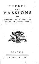 Effets des passions, de plaisirs