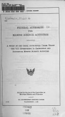Federal Authority for Marine Science Activities