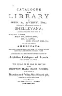 Catalogue of the Library of Geo  A  Avery  Esq