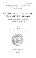 Metabolism of Organic and Inorganic Phosphorus