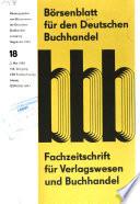 Bo( ̃rsenblatt fu( ̃r den deutschen Buchhandel