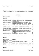 The Journal of West African Languages Book