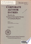 Corporate Author Entries Used by the Technical Information Service in Cataloging Reports Book PDF