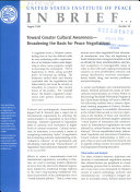 Toward Greater Cultural Awareness  broadening the Basis for Peace Negotiations