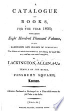 A Catalogue Of Books For The Year 1803