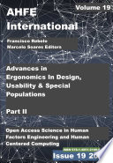 Advances In Ergonomics In Design Usability Special Populations Part Ii
