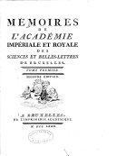 Mémoires de l'Académie impériale et royale des sciences et belles-lettres de Bruxelles