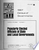 1967 Census Of Governments Topical Studies No 1 Popularly Elected Officials Of State And Local Governments No 2 Employee Retirement Systems Of State And Local Government No 3 State Reports On State And Local Government Finances No 4 State Payments To Local Governments