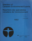 Directory Of Canadian Environmental Experts Book PDF