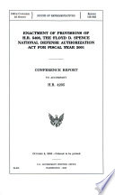 Enactment of Provisions of H R  5408  the Floyd D  Spence National Defense Authorization Act for Fiscal Year 2001
