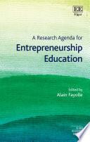 A Research Agenda for Entrepreneurship Education